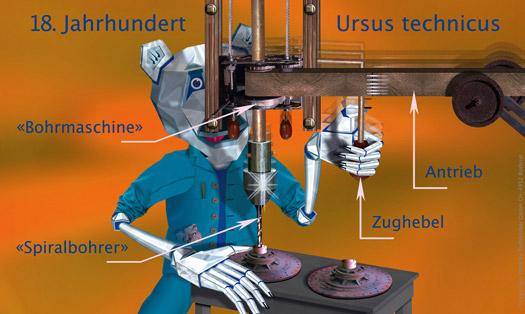 Tiefbohrbär – Bohrmaschine mit Spiralbohrer